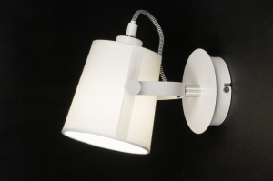 plafondlamp 11869 modern landelijk rustiek wit mat stof rond