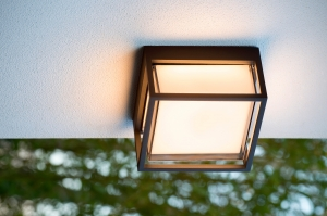 plafondlamp 11873 modern aluminium kunststof zwart mat rechthoekig
