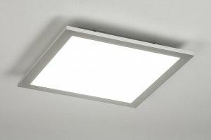 plafondlamp 11875 modern zilvergrijs kunststof metaal vierkant