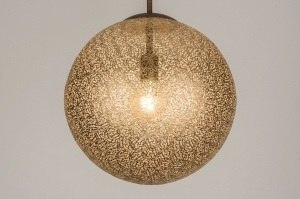 hanglamp 11894 landelijk rustiek klassiek eigentijds klassiek brons roestbrons metaal goud brons bruin mat messing