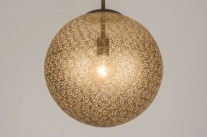 hanglamp 11895 landelijk rustiek klassiek eigentijds klassiek brons roestbrons metaal goud brons bruin mat messing