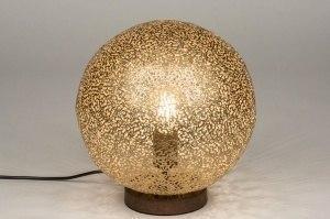 tafellamp 11896 modern eigentijds klassiek bruin goud messing roest bruin brons metaal rond