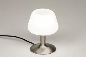 tafellamp 11897 modern eigentijds klassiek retro staalgrijs wit glas wit opaalglas staal rvs