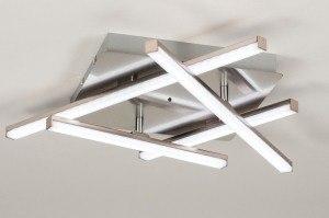 plafondlamp 11924 modern RGB multicolor staalgrijs staal rvs vierkant