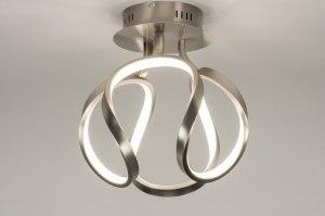 plafondlamp 11951 modern staalgrijs aluminium metaal staal rvs rond
