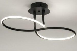 plafondlamp 11952 modern zwart mat metaal ovaal