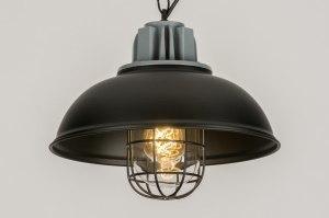 hanglamp 11955 industrie look landelijk rustiek modern metaal zwart mat rond