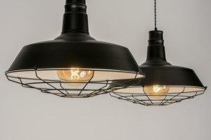 hanglamp 11963 sale industrie look landelijk rustiek retro metaal zwart mat rond