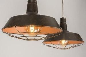 hanglamp 11964 landelijk rustiek industrie look bruin brons roest bruin roest bruin brons metaal rond
