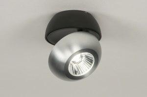 plafondlamp 11971 modern aluminium zwart mat aluminium metaal rond