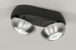 plafondlamp 11973 sale design modern aluminium metaal zwart mat aluminium rond