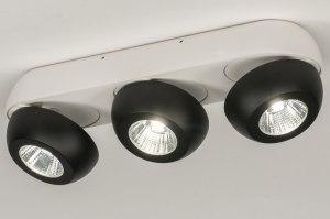 plafondlamp 11974 sale design modern aluminium metaal zwart mat wit mat rond langwerpig