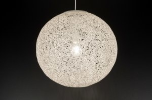 suspension 11980 rural rustique moderne retro blanc creme rond