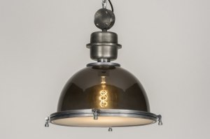 hanglamp 11985 industrie look landelijk rustiek modern glas aluminium zwart glans antraciet donkergrijs rond