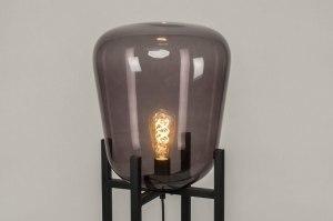 vloerlamp 11988 modern retro glas metaal zwart mat