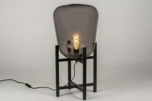 tafellamp 11989 modern retro glas metaal zwart