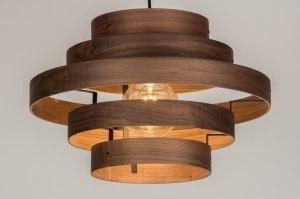hanglamp 11990 landelijk rustiek modern retro eigentijds klassiek hout donker hout bruin hout rond