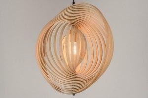 hanglamp 11991 modern eigentijds klassiek landelijk rustiek retro bruin hout hout licht hout rond