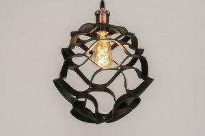 hanglamp 11995 modern eigentijds klassiek stoer raw roodkoper zwart rond