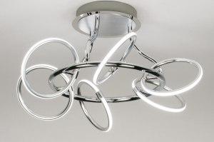 plafondlamp 12002 modern design chroom geschuurd aluminium metaal rond