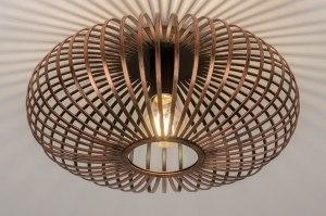 plafondlamp 12004 modern eigentijds klassiek bruin roest bruin brons roodkoper metaal rond