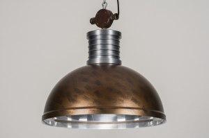 hanglamp 12016 modern industrie look stoer raw bruin brons roest bruin aluminium metaal rond