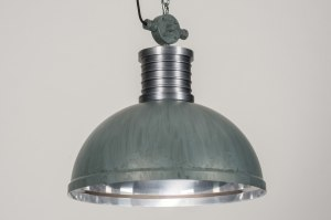 hanglamp 12017 sale industrie look modern stoer raw aluminium metaal betongrijs rond