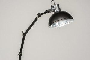 vloerlamp 12028 modern industrie look stoer raw zwart mat metaal rond