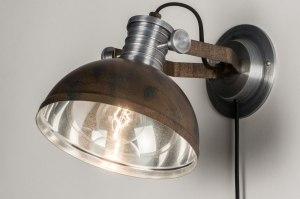 wandlamp 12029 modern industrie look stoer raw bruin brons roest bruin aluminium metaal rond