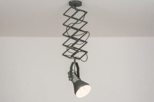 hanglamp 12032 industrie look modern stoer raw staal rvs metaal grijs antraciet donkergrijs