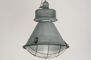 hanglamp 12033 modern industrie look stoer raw betongrijs aluminium metaal rond