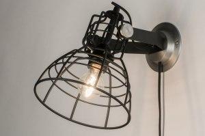 wandlamp 12040 industrie look modern stoer raw metaal zwart mat