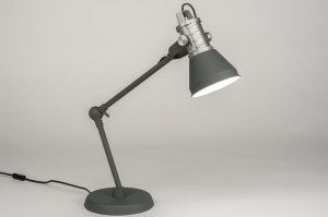 tafellamp 12047 modern industrie look stoer raw antraciet donkergrijs grijs metaal