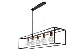 hanglamp 12063 modern metaal zwart roodkoper langwerpig rechthoekig
