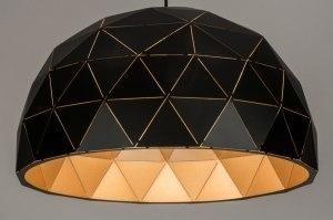 hanglamp 12068 modern metaal zwart mat goud roodkoper rond