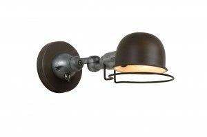 wandlamp 12069 eigentijds klassiek landelijk rustiek retro industrie look bruin roest bruin brons metaal rond