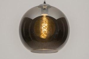 hanglamp 12092 modern eigentijds klassiek retro grijs glas rond