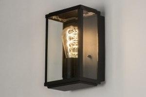 wandlamp 12098 modern eigentijds klassiek glas helder glas aluminium zwart mat rechthoekig