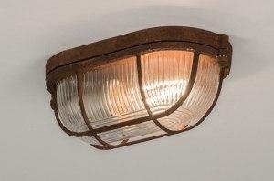 plafondlamp 12105 industrie look landelijk rustiek modern stoere lampen glas helder glas metaal roest bruin brons bruin ovaal