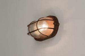 plafondlamp 12105 modern landelijk rustiek industrie look stoer raw bruin roest bruin brons glas helder glas metaal ovaal
