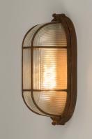 plafondlamp 12106 modern landelijk rustiek industrie look stoer raw bruin roest bruin brons glas helder glas metaal ovaal
