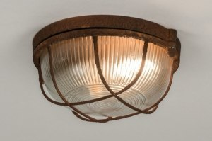 plafondlamp 12107 modern landelijk rustiek industrie look stoer raw bruin roest bruin brons glas helder glas metaal rond