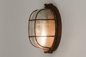 plafondlamp 12107 industrie look landelijk rustiek modern stoer raw glas helder glas metaal roest bruin brons bruin rond