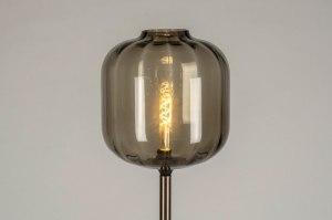 vloerlamp 12113 modern eigentijds klassiek retro bruin messing zwart mat brons glas messing geschuurd metaal rond