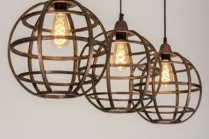 hanglamp 12118 landelijk rustiek modern stoer raw aluminium metaal roest bruin brons bruin koper roodkoper rond