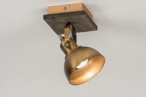plafondlamp 12122 modern eigentijds klassiek landelijk rustiek brons roest bruin hout brons hout rond vierkant