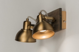 plafondlamp 12123 modern eigentijds klassiek landelijk rustiek brons roest bruin hout brons hout rond vierkant