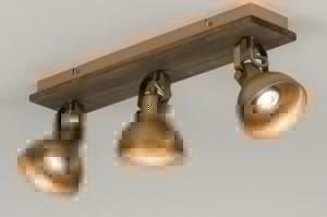 plafondlamp 12124 modern eigentijds klassiek landelijk rustiek brons roest bruin hout brons hout rond vierkant