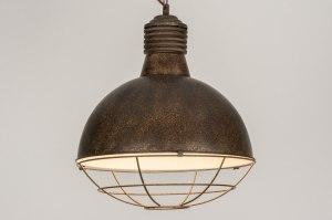 hanglamp 12125 modern landelijk rustiek industrie look stoer raw roest bruin brons metaal rond