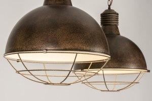 hanglamp 12126 modern landelijk rustiek industrie look stoer raw roest bruin brons metaal langwerpig rond